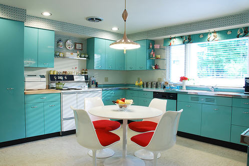 Kitchen Remodel Ideas Pictures on Atomic Pink Vintage Kitchen   Retro Inspiration Board   At Home In