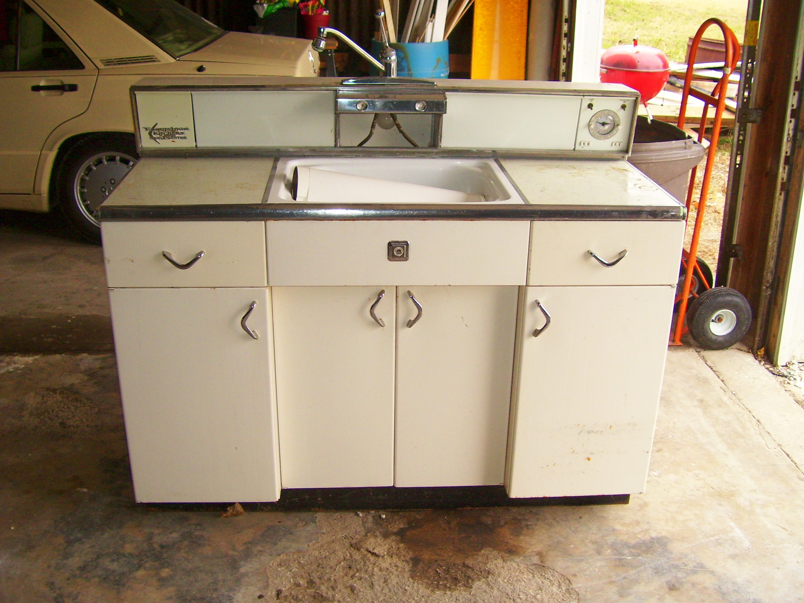 Retro metal cabinets for sale at home in kansas city for Antique white kitchen cabinets for sale
