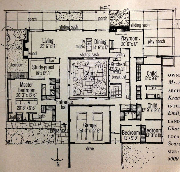 Inspiration retro 1959 home magazine features mid century Indoor courtyard house plans