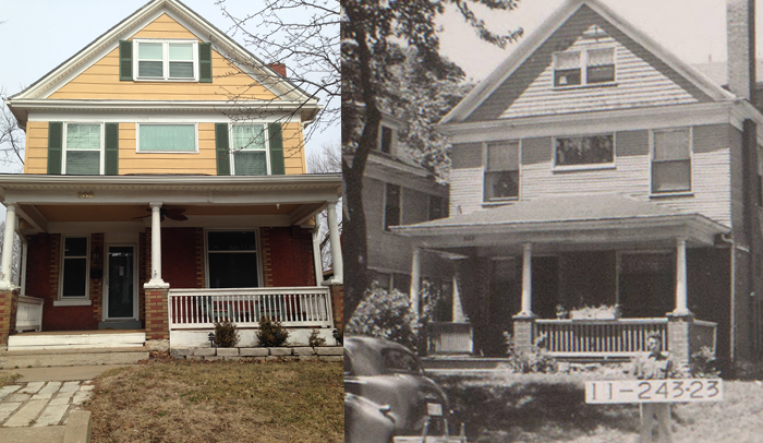 Compare the photo from 2014 on the left with the county tax assessment photo from 1940 on the right.