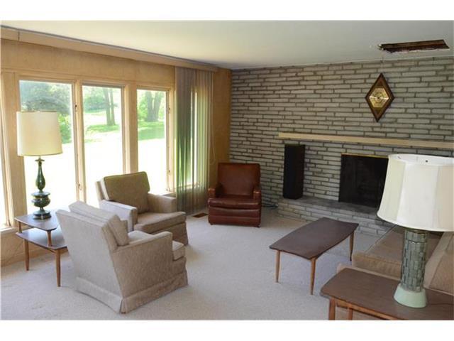 retro living room fireplace